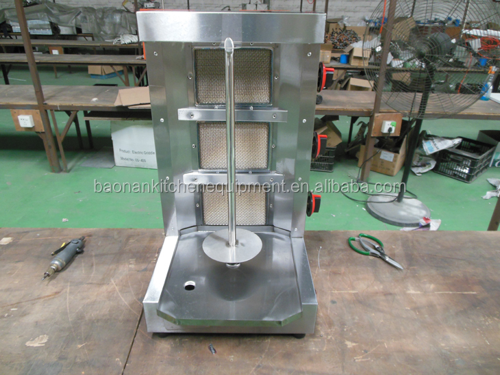 Gas Doner Kebab Machine / Shawarma Grill / Vertical Broiler For Restaurant Equipment With 3 Burners