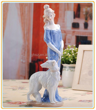 Low moq room decor ceramic girl with animal dog figure for sale