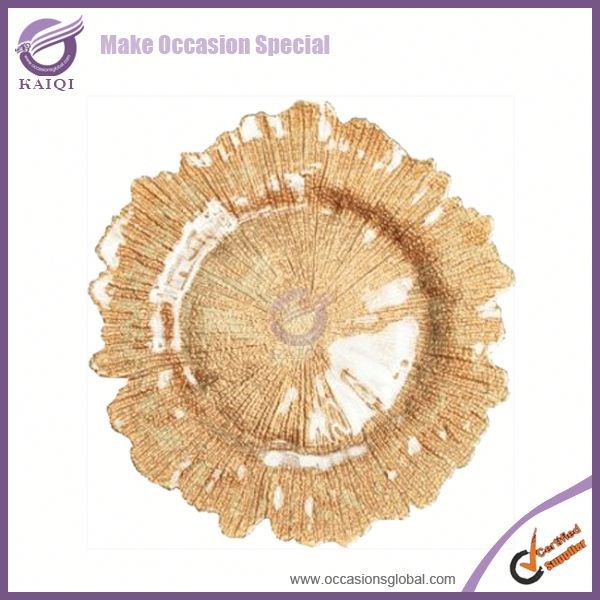 PZ29000 wholesale wedding cheap reef gold glass charger <strong>plate</strong>