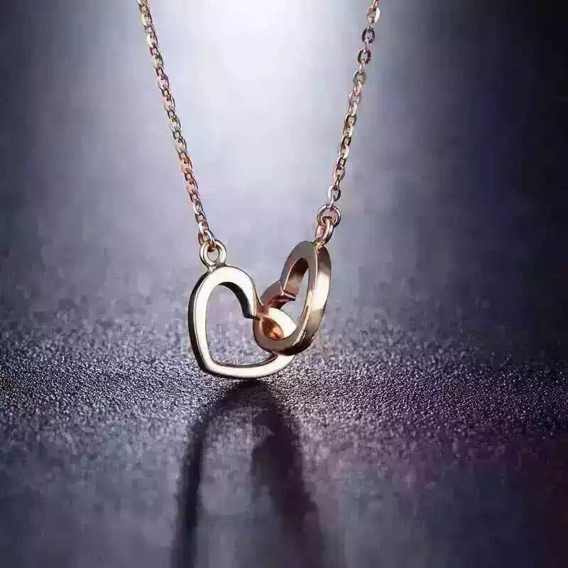 Latest Jewelry Two Heart Shape Gold Plated Long Chain Necklace Designs