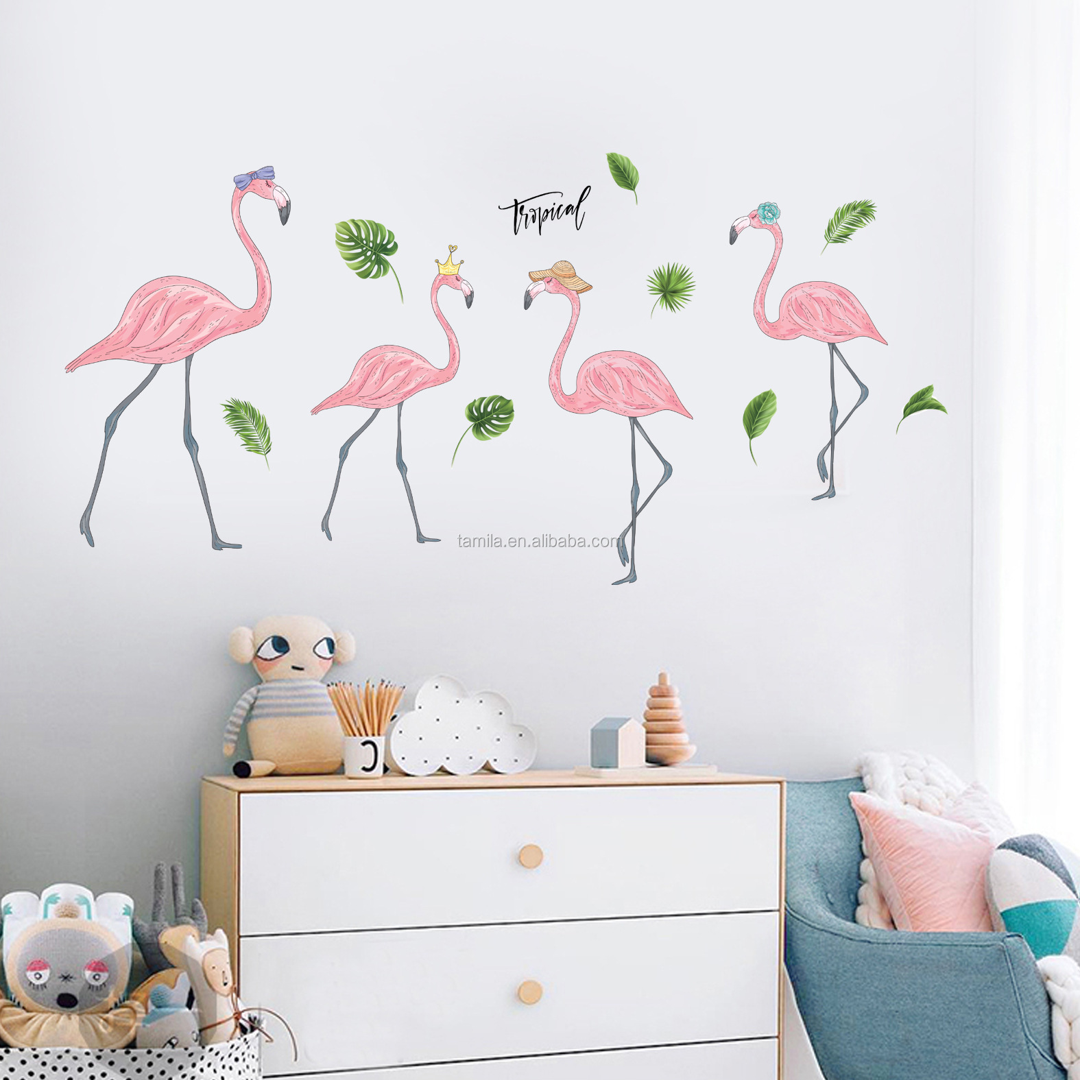 flamingo Wall Stickers Art DIY Home Children's room Decor Removable Wedding Decoration Wall Decals