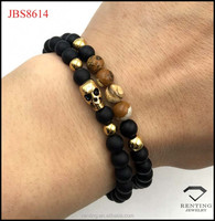 vacuum gold plated stainless steel skull onyx stone bracelet for men