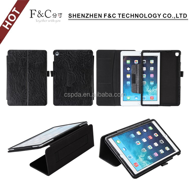 Classical black pu leather material stand folio 9.7 inch tablet case for ipad pro with hand strap design