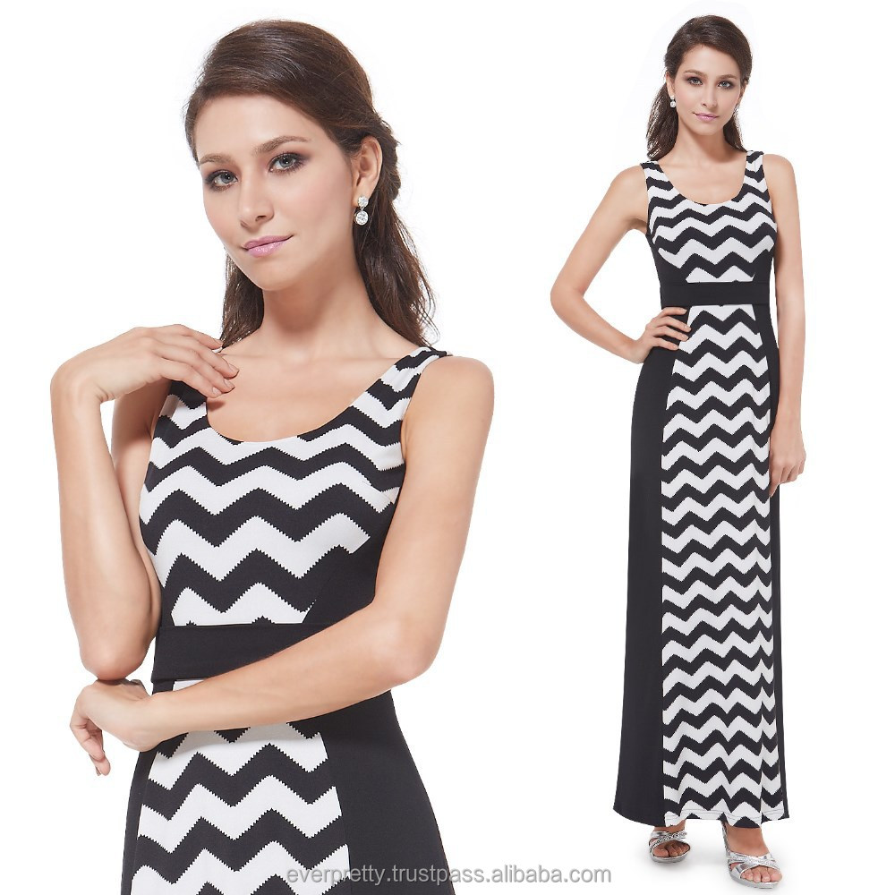 Women's Black and White Striped Fitte A-line Long Casual Dress HE08451BK