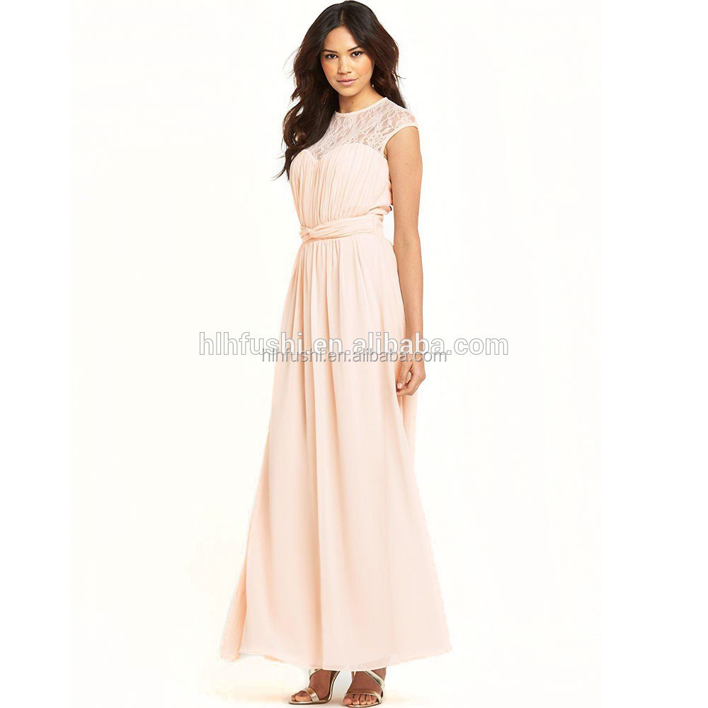 New Style Lace Details Pleated Peach Chiffon Maxi Dress Long Evening Dress