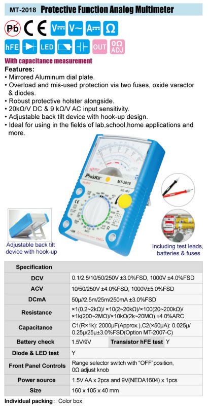 Brand Proskit MT-2018 Professional Protective Function Analog Multimeter