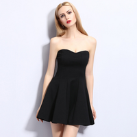 China wholesale polyester wrap strapless v-neck backless bodycon night party sexy mini skirt club hot women without dress