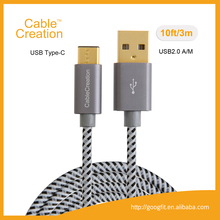 10ft/3m High Speed Braided Standard USB 2.0 A Male to USB 3.1 Type C Male Cable