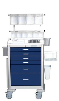 medical cart -BEST - Deluxe Electronic 6 drawer lightweight Anesthesia Cart (Sample colors shown)
