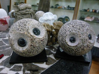China Brown Granite Owl Artifacts Handcrafts