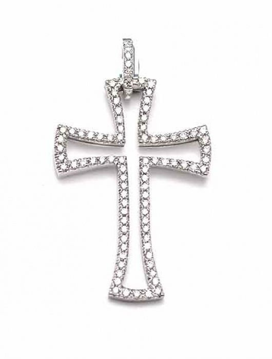Exclusive art cross pendant, 14k White Gold and genuine round cut Diamonds, 0.4 carat
