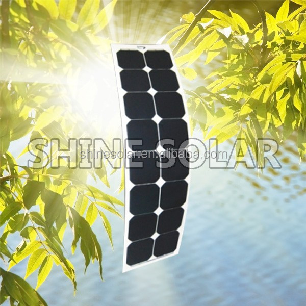 factory hottest selling 18V 50W 23.5% high efficiency sunpower semi flexible solar panel