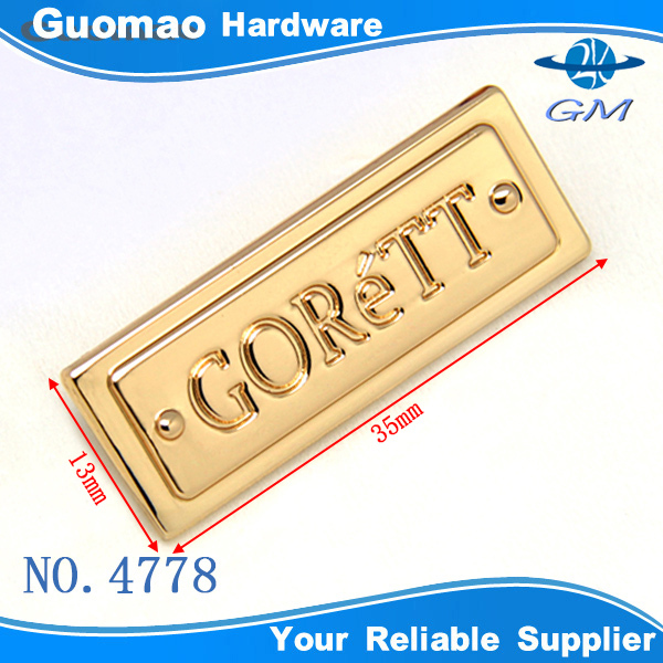engraved customized Zinc alloy light gold metal plate logo for handbags