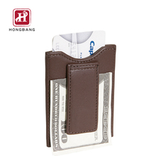 Smart Genuine Leather Money Clip front pocket wallet with magnet clip and card ID Case
