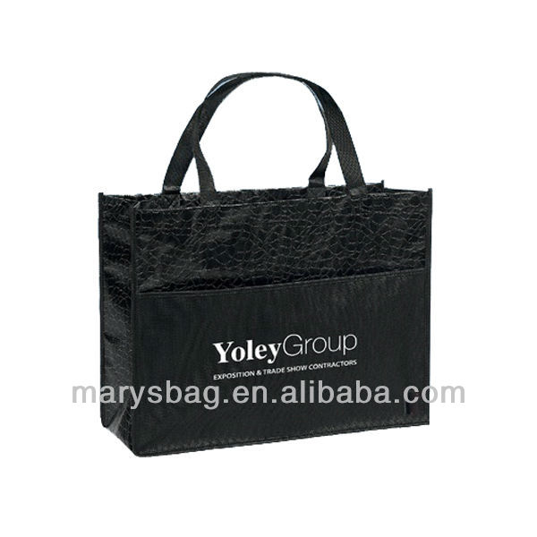 gloss laminated tote with large non-woven polypropylene pocket