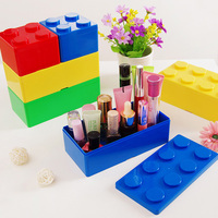 Multi-function novelty design plastic building blocks toy storage box