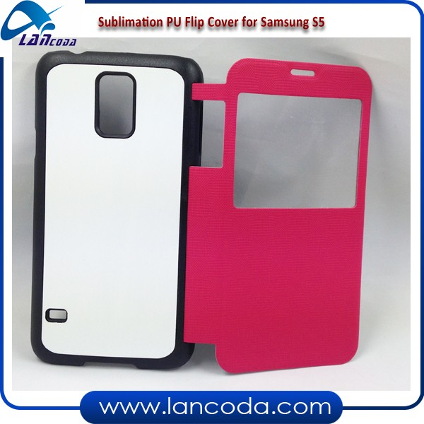 open window Sublimation Blank Flip PU Leather Phone Cover for samsung galaxy S5