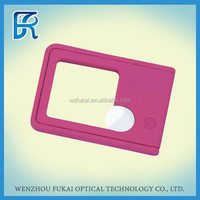 Factory price 10X Red Portable Plastic Card Magnifier With Led And Uv Light in wenzhou