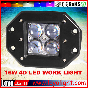 Newest!! Flush mounting led work light 4D offroad 16W 4x4 led spot lights
