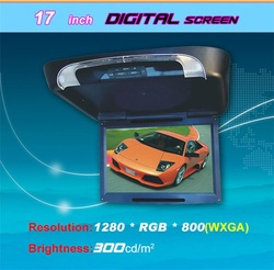 17 Inch 1080P Flip Down Tft Lcd Car Monitor with sd usb bluetooth