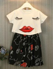 2016 new style spring and summer teen girls wear with short sleeve and skirt wholesale