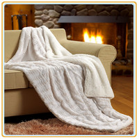 "Hot Selling Pure White color PV faux fur /Sherpa Plush Throw Blanket 60""x70"""