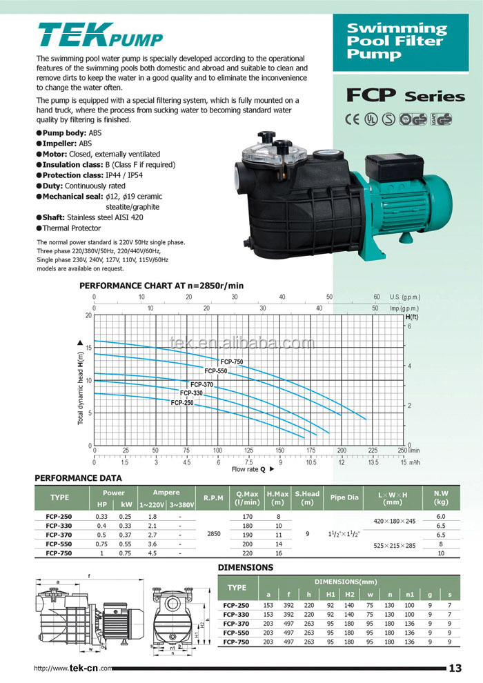 Ac swimming pool pump FCP-250