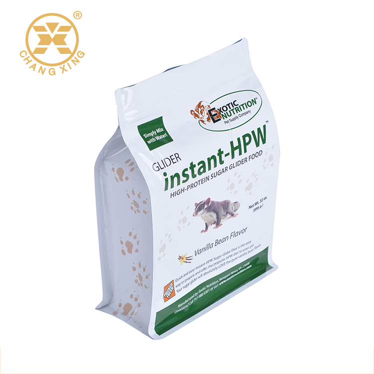 Custom Design Metallized Flat Bottom Side Gusset Plastic Pet Food Bag With Reclosable Zip Lock