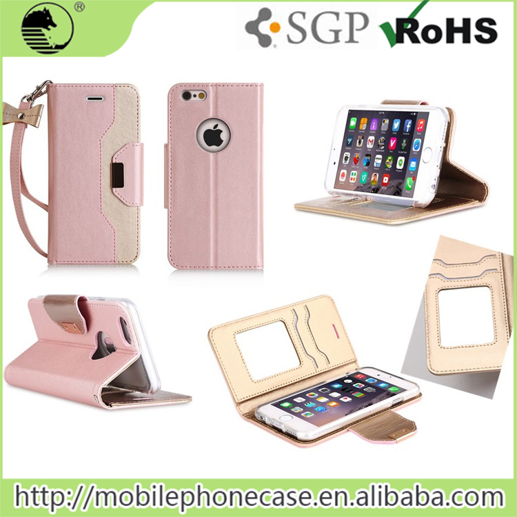 New Fashion Lady Cosmetic Dual Layer With Leather Card Slot Makeup Mirror Phone Case for iPhone 6