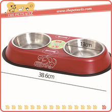 Resin bowl ,CC044 cat shape pet bowl , double stainless steel dog bowls