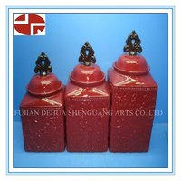 Ceramic cookies jar biscuit candy box with glazing design