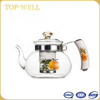 Made in china Hot sell glass water pot ,glass tea kettle with glass lid and porcelain hanlde