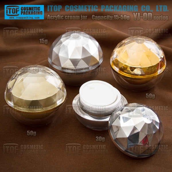 YJ-OD series hot selling high-end ball shape diamond cosmetic cream jar