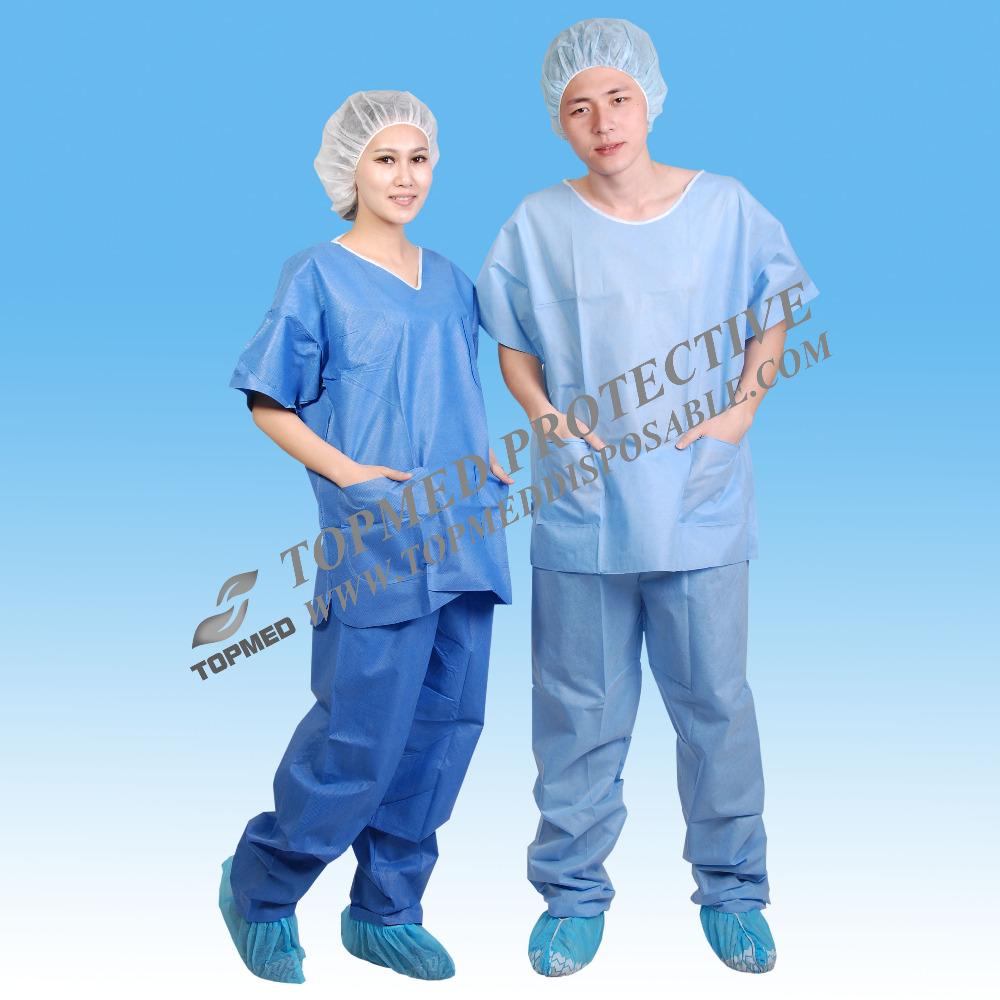 Disposable nonwoven surgical pajamas, SBPP SMS soft medical pajamas scrub suit
