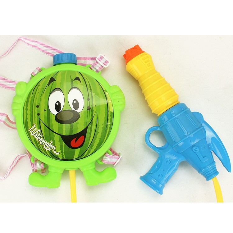 high tech expandable filled water gun toy with fruit backpack