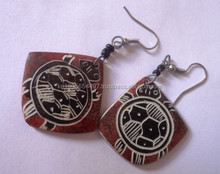 Kenyan Soapstone decorated/painted Earrings
