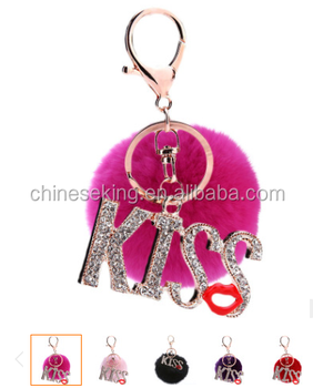 bling crystal kiss fur pom pom keychain fancy lady costume keychain jewelry high end fur ball crystal keychain bag charms