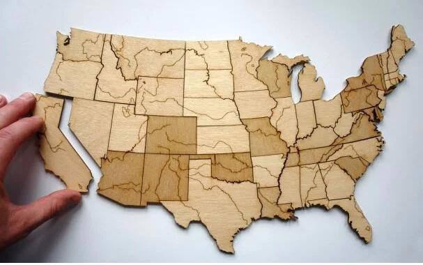 United States of America -USA MAP - Wood Puzzle with 3mm plywood