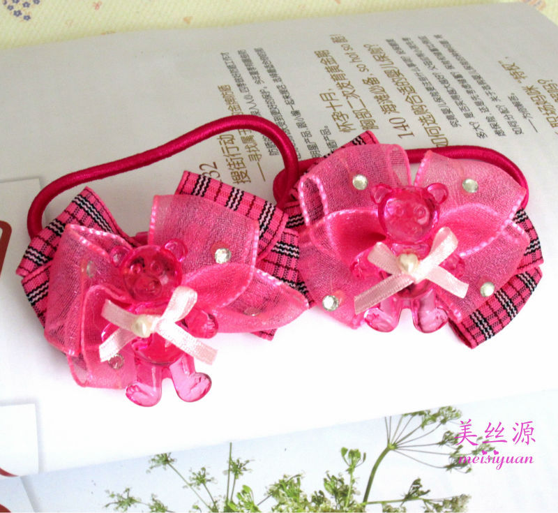 Red elastic ribbon bow for kids
