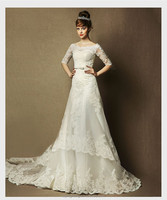 DongGuan garment manufacturer hot sale off-shoulder long sleeve retro style lace maxi ladies Ivory white wedding dresses