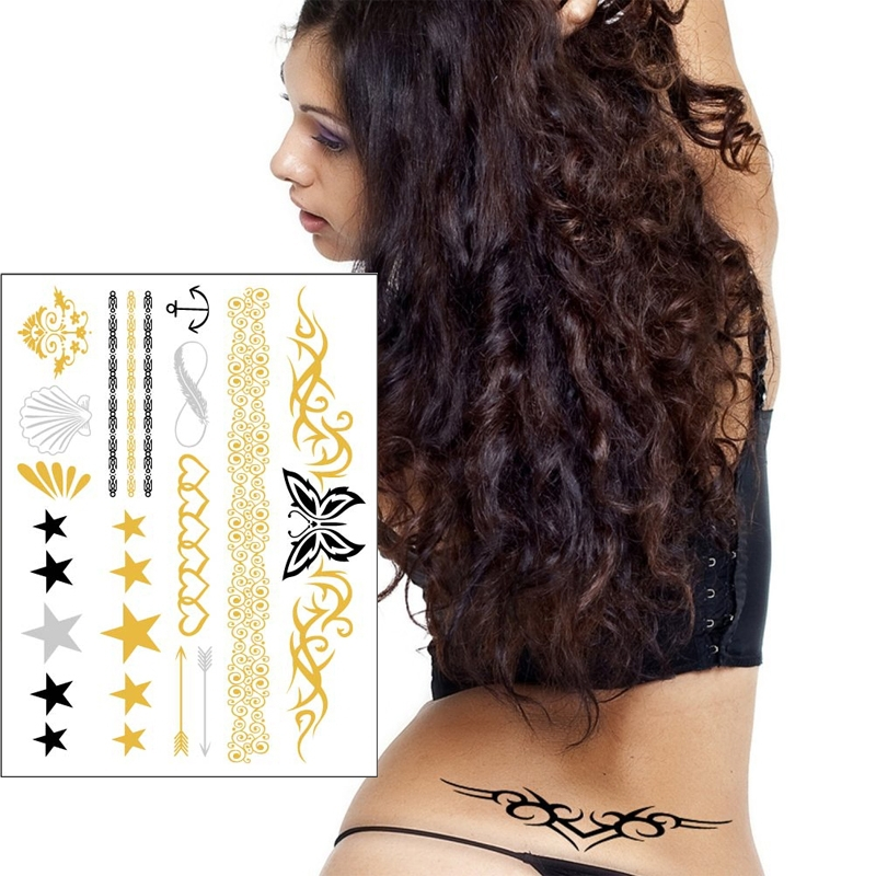 2015 water proof wholesale foil tattoo sticker custom metallic gold silver temporary flash tattoo