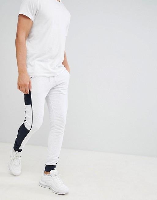 KY Drawstring waistband back pocket Contrast panels Fitted cuffs super skinny joggers with side stripe training jogging wear