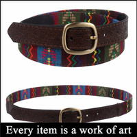 New arrival embossed pu leather embroidery belts, ladies embroidery belts