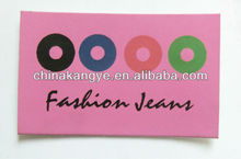Kangye fashion colorful jean label for colourful clothing P-40
