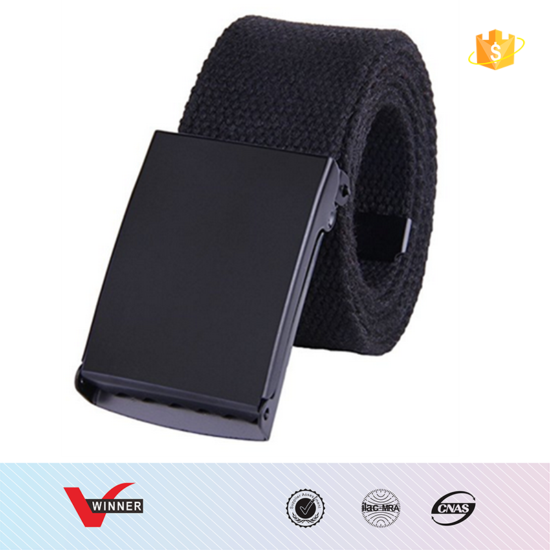Canvas Web Belt Military Style Black Buckle solid color