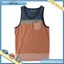 High Quality Stiped Tank Top Pocket, Combination Color Tank Top, Customized Tank Top