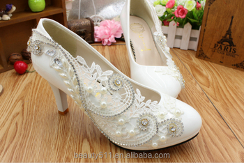 Luxury bridal gown with white crystal diamond dinner shoes for women's shoes WS008