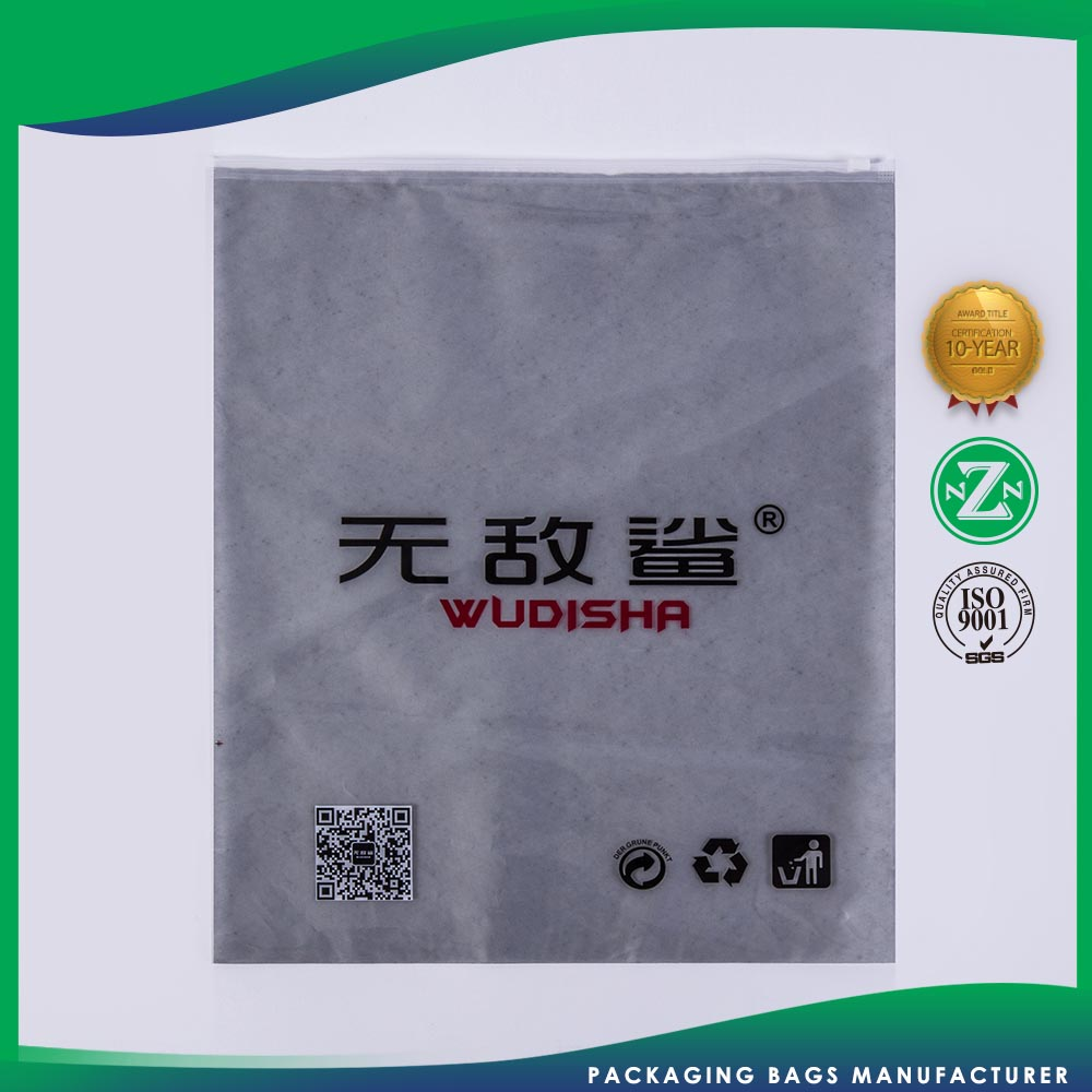 Printed zip lock bags for clothes packing zipper closure plastic bags