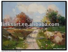 handpainted oil painting landscape oil painting rural area oil painting