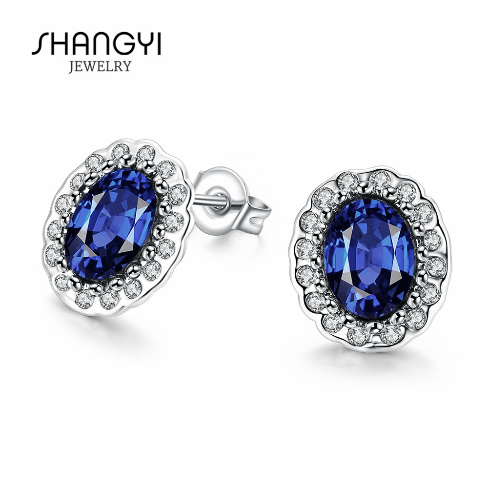 Fashion Jewelry Natural Blue Round Sapphire Dangle Earrings